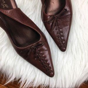 Vintage   Prima Wilma Leather Sling Back Heels